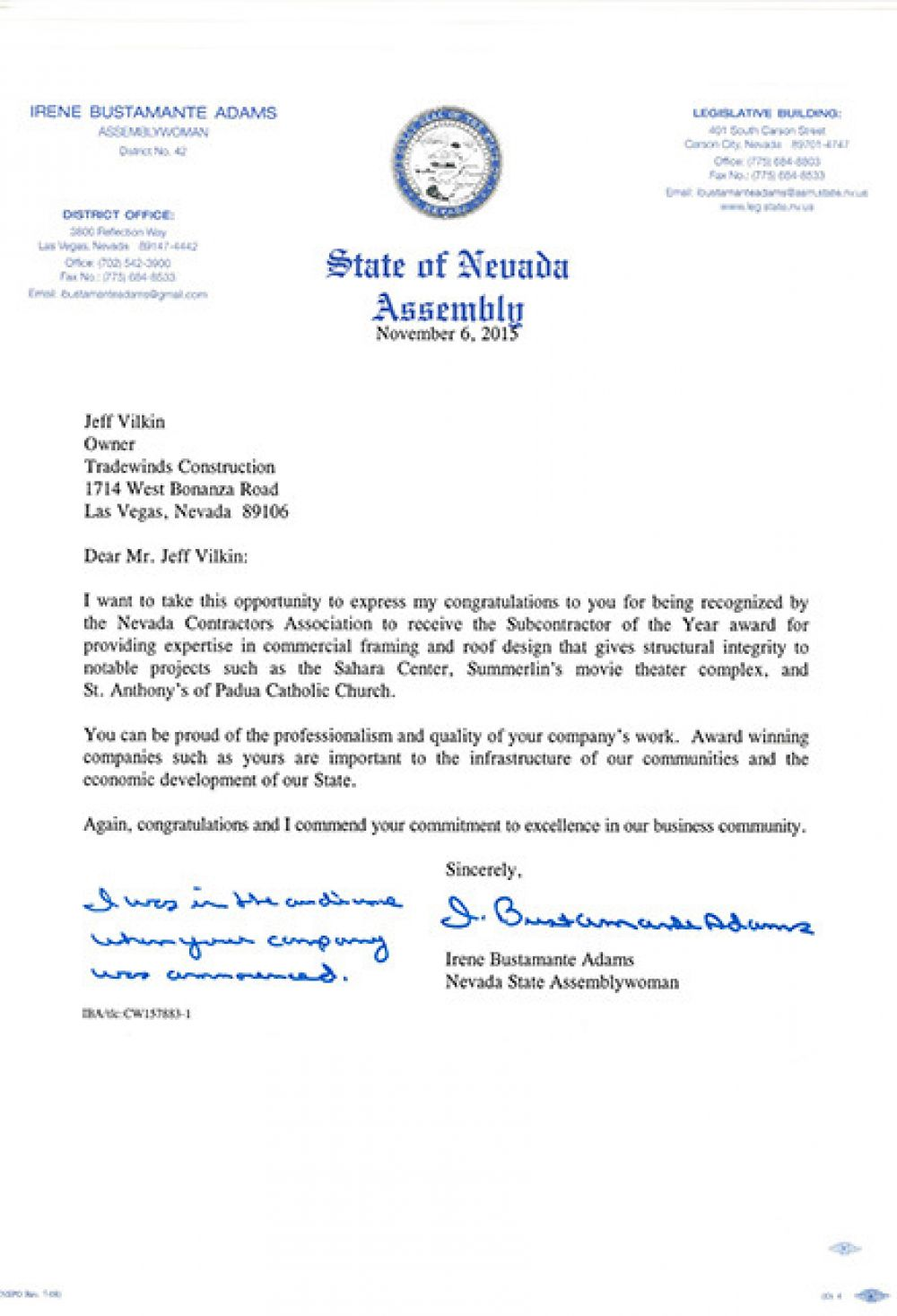 State of Nevada Assemblywoman Letter